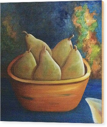 It's All About Pears  Sold Wood Print by Susan Dehlinger