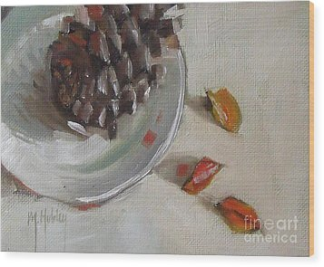 Pine Cone Still Life On A Plate Wood Print