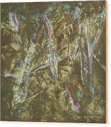 Wood Print featuring the painting It's Crazy Out There by Mini Arora