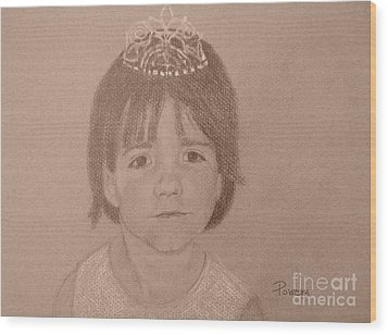 Wood Print featuring the drawing It's Not Easy Being Queen by Mary Lynne Powers