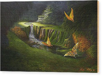 Wood Print featuring the painting Peaceful by Loxi Sibley