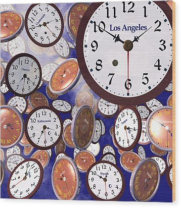 It's Raining Clocks - Los Angeles Wood Print