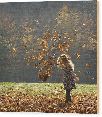 It's Raining Leaves Wood Print
