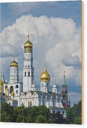 Ivan The Great Bell Tower Of Moscow Kremlin - Featured 3 Wood Print by Alexander Senin
