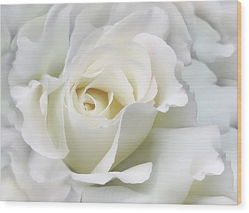 Ivory Rose Flower In The Clouds Wood Print by Jennie Marie Schell