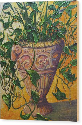 Ivy And Other Greens Wood Print by Paris Wyatt Llanso
