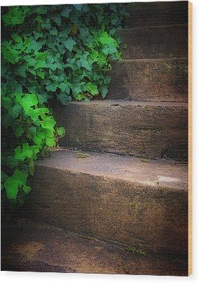 Ivy Beside Steps Wood Print