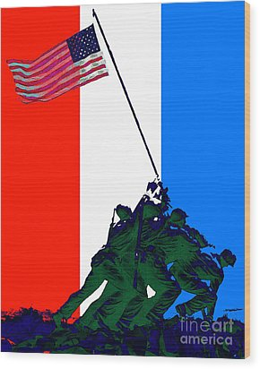 Iwo Jima 20130210 Red White Blue Wood Print by Wingsdomain Art and Photography