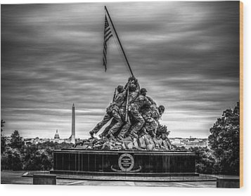 Iwo Jima Monument Black And White Wood Print