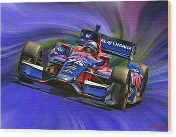 Izod Indycar Series Marco Andretti  Wood Print by Blake Richards