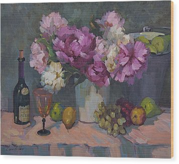 J. P. Chenet And Peonies Wood Print by Diane McClary