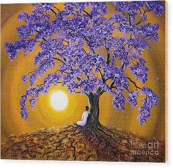 Jacaranda Sunset Meditation Wood Print by Laura Iverson
