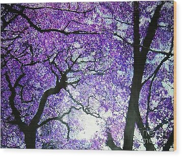 Jacarandas By The River Wood Print