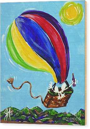 Wood Print featuring the painting Jack And Charlie Fly Away by Jackie Carpenter