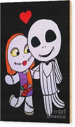 Jack And Sally Wood Print