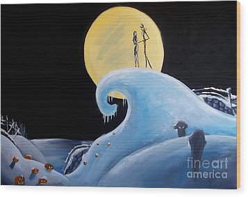 Jack And Sally Snowy Hill Wood Print by Marisela Mungia