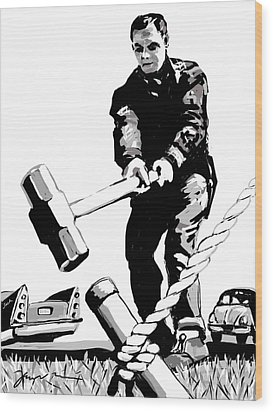 Wood Print featuring the painting Jack Hammer by Jean Pacheco Ravinski