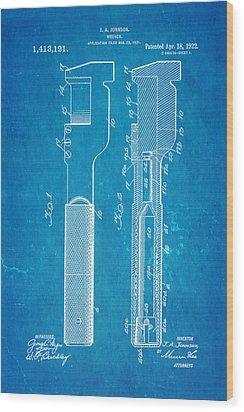 Jack Johnson Wrench Patent Art 1922 Blueprint Wood Print by Ian Monk