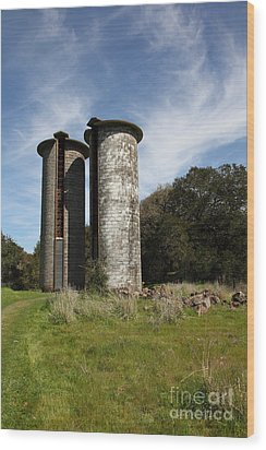 Jack London Ranch Silos 5d22161 Wood Print by Wingsdomain Art and Photography