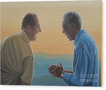 Jack Nicholson And Morgan Freeman Wood Print by Paul Meijering