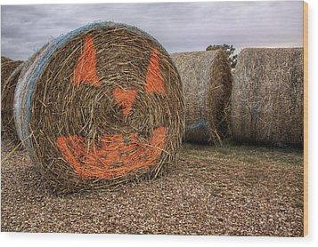 Jack-o-lantern Hayroll Wood Print by Jason Politte