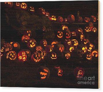 Jack-o-lanterns Wood Print by Inge Riis McDonald