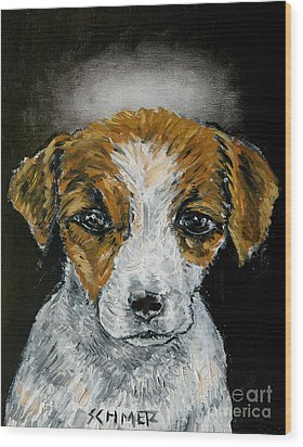Jack Russell Terrier Angel Wood Print by Jay  Schmetz