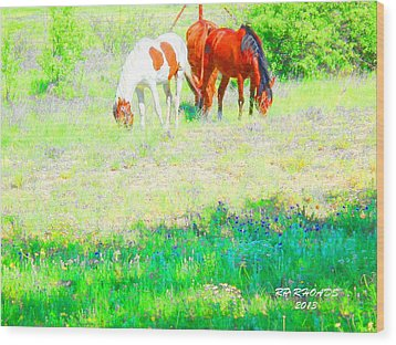 Wood Print featuring the digital art Jack Smokey And Camelot Texas Spring A by Robert Rhoads