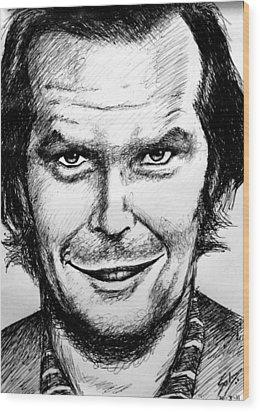 Wood Print featuring the drawing Jack Nicholson #2 by Salman Ravish