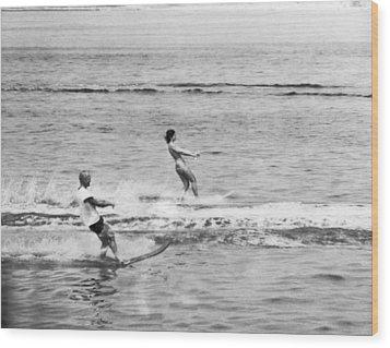 Jackie & John Glenn Water Ski Wood Print by Underwood Archives