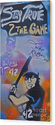 Jackie Robinson Blue Wood Print by Tony B Conscious