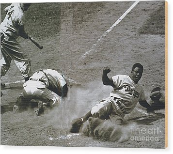Jackie Robinson Sliding Home Wood Print