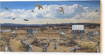 Jackrabbit Juxtaposition  At Owyhee View Wood Print by Tarey Potter