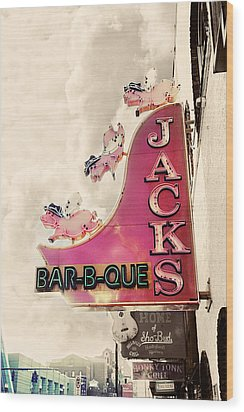 Jacks Bbq Wood Print by Amy Tyler