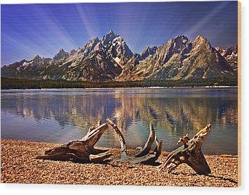 Jackson Lake Mt. Moran Wood Print by Marty Koch