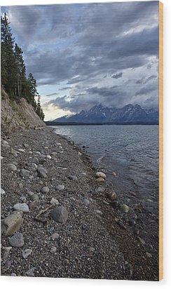 Jackson Lake Shore With Grand Tetons Wood Print by Belinda Greb