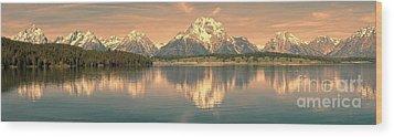 Jackson Lake Sunrise - Grand Teton Wood Print by Sandra Bronstein