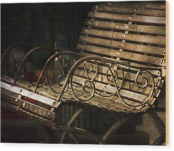 Jackson Square Bench Wood Print by Brenda Bryant