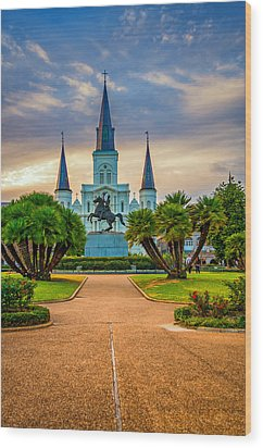 Jackson Square Cathedral Wood Print by Steve Harrington