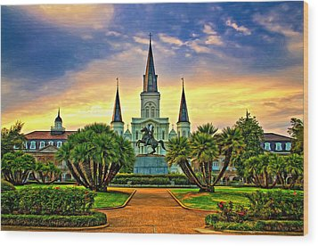 Jackson Square Evening - Paint Wood Print