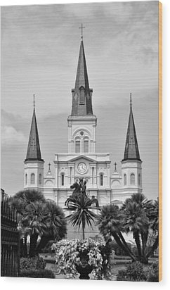 Jackson Square In Black And White Wood Print by Bill Cannon