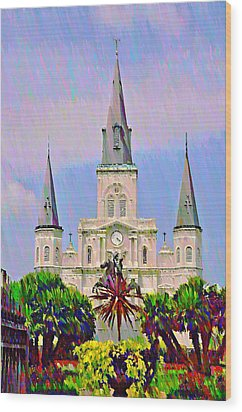 Jackson Square In The French Quarter Wood Print by Bill Cannon