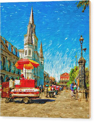 Jackson Square Painted Version Wood Print by Steve Harrington