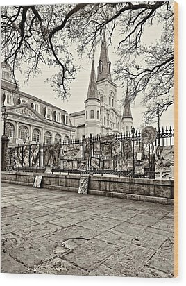 Jackson Square Winter Sepia Wood Print