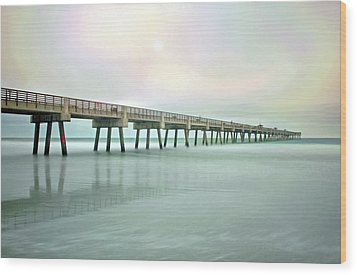 Jacksonville Beach Pier Wood Print by Marion Johnson