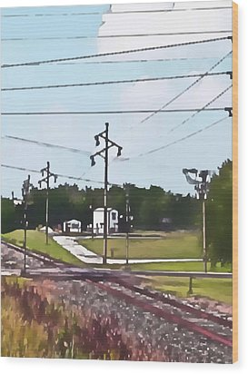 Jacksonville Il Rail Crossing 3 Wood Print by Jeff Iverson