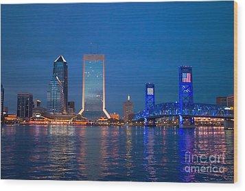 Jacksonville Nightscape Wood Print