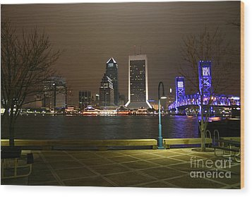 Jacksonville Riverwalk Night Wood Print