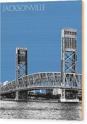 Jacksonville Skyline 2  Main Street Bridge - Slate Blue Wood Print by DB Artist