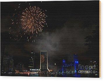 Jacksonville Skyline Fireworks Wood Print